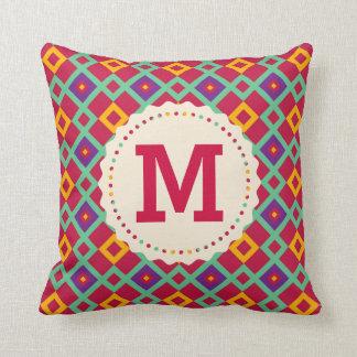 幾何学的なパターンが付いているモノグラムの枕 クッション