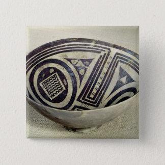幾何学的なパターンと飾られるボール 5.1CM 正方形バッジ
