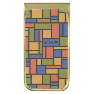 幾何学的なパターンカスタムなモノグラムのお金クリップ ゴールド マネークリップ