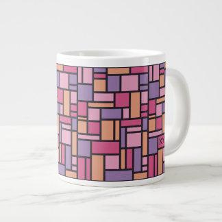 幾何学的なパターンカスタムなモノグラムのマグ ジャンボコーヒーマグカップ
