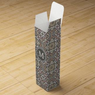 幾何学的なパターンモノグラムの暖かい灰色ID162 ワインギフトボックス