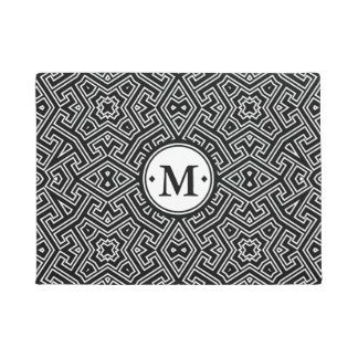 幾何学的なパターンモノグラム白黒ID149 ドアマット