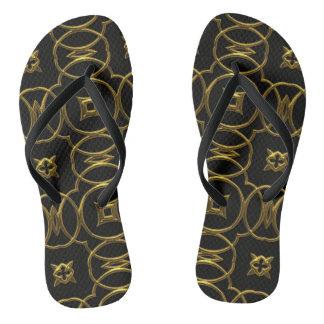 幾何学的なパターン黒の金ゴールドのエレガントなビーチサンダル ビーチサンダル
