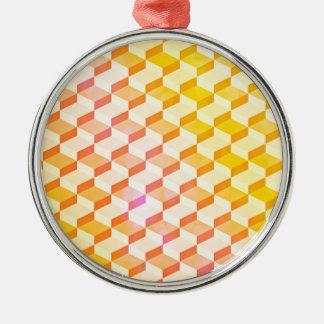幾何学的なパターン3Dブロック-オレンジか黄色 メタルオーナメント