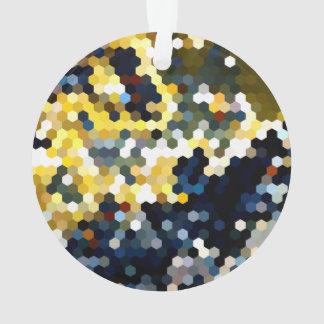 幾何学的なパターン|の黄色および青の六角形 オーナメント