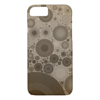 幾何学的なパターン|ブラウン暗灰色の円 iPhone 8/7ケース