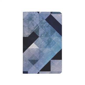 幾何学的なパターン|青の三角形およびダイヤモンド ポケットジャーナル