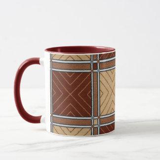 幾何学的なブラウンおよびタンの織物の陶磁器のマグ マグカップ