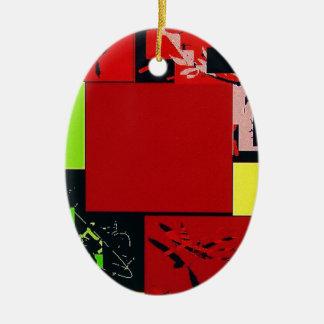 幾何学的なブロックの抽象美術の赤いデザイン セラミックオーナメント