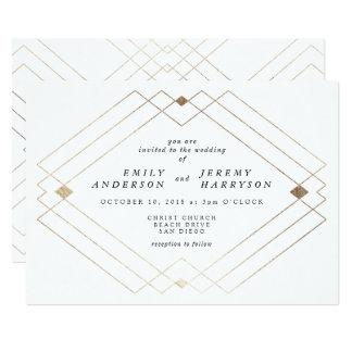 幾何学的なホワイトゴールドのDecoの白の結婚式招待状 12.7 X 17.8 インビテーションカード