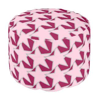 幾何学的なモダンな星-ピンクおよびバーガンディ プーフ