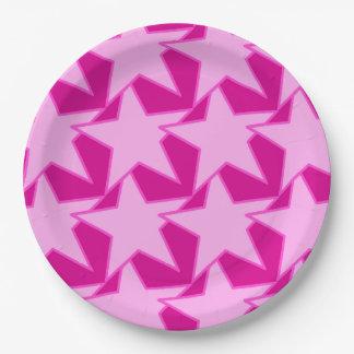 幾何学的なモダンな星-淡いピンクおよび赤紫 ペーパープレート
