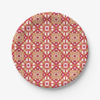 幾何学的なモロッコの水彩画の継ぎ目が無いパターン1 ペーパープレート