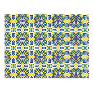 幾何学的なモロッコの水彩画の継ぎ目が無いパターン3 ポストカード