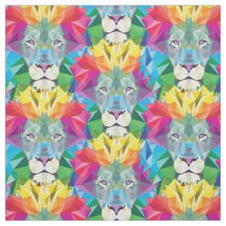 幾何学的なライオンの頭部 ファブリック