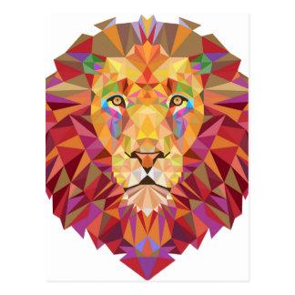 幾何学的なライオン ポストカード