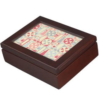 幾何学的なレトロの50年代の世紀半ばのモダンのピンク ジュエリーボックス