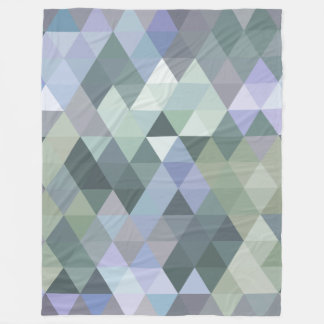幾何学的な三角形の霧深い朝の青 フリースブランケット