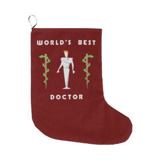 幾何学的な世界で最も最高のな医者 ラージクリスマスストッキング
