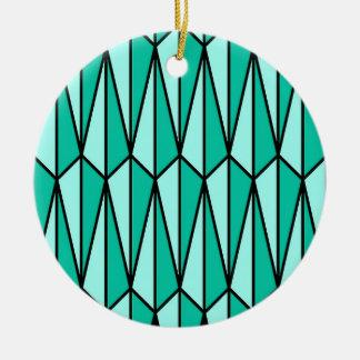 幾何学的な世紀半ばティール(緑がかった色)および水 セラミックオーナメント