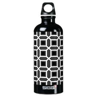 幾何学的な円パターン黒および灰色 ウォーターボトル