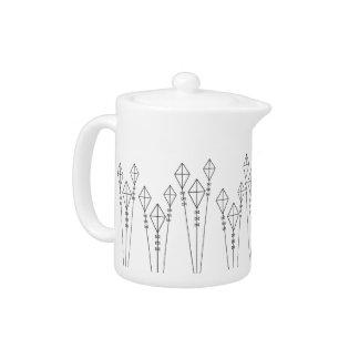 幾何学的な凧のプリントの茶ポット