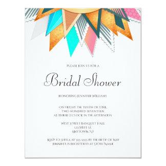 幾何学的な太陽のブライダルシャワー招待状 カード