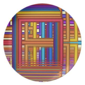 幾何学的な形の芸術的で多彩なプレート プレート