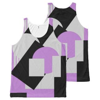 幾何学的な抽象美術のdecoのマッシュの灰色の紫色 オールオーバープリントタンクトップ