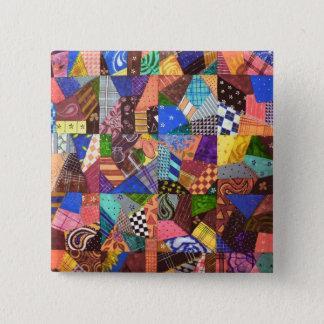 幾何学的な熱狂するなキルトのパッチワークキルトの抽象美術 5.1CM 正方形バッジ
