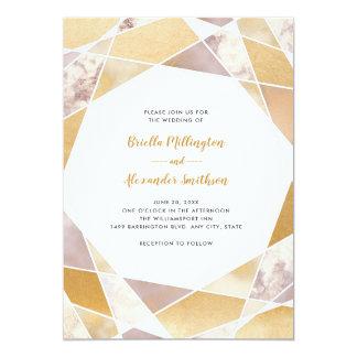 幾何学的な結婚式の招待|ののどの金ゴールドの大理石 カード