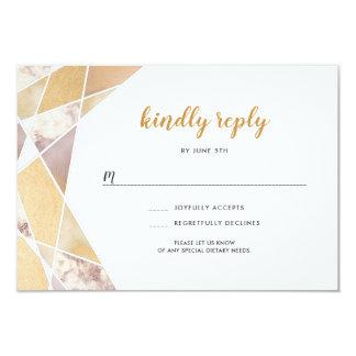 幾何学的な結婚式のrsvp |ののどの金ゴールドの大理石 カード
