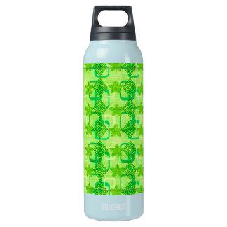 幾何学的な緑の葉 断熱ウォーターボトル