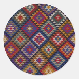 幾何学的な編まれたキルトパターン ラウンドシール