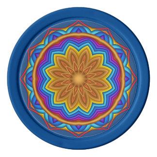 幾何学的な花の円形浮彫りのポーカー用のチップ ポーカーチップ