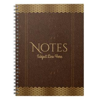 幾何学的な金ゴールドのアクセントのブラウンのヴィンテージの革 ノートブック