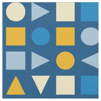 幾何学的な青及び金ゴールド ファブリック