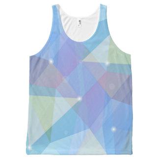 幾何学的な青、 オールオーバープリントタンクトップ