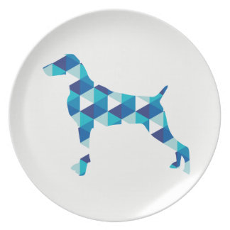 幾何学的な青WEIMARANERのシルエットの白いプレート プレート