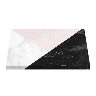 幾何学的な黒く、白い大理石のピンクの絹の抽象芸術 キャンバスプリント