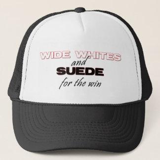 広い白およびスエードの帽子 キャップ
