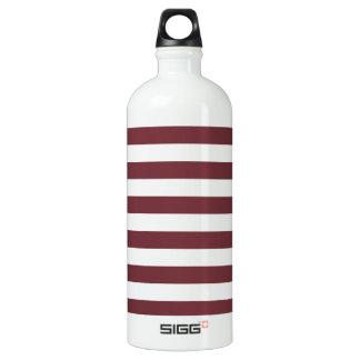 広い-白およびワイン縞で飾ります ウォーターボトル