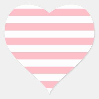広い-白く、淡いピンク縞で飾ります ハートシール