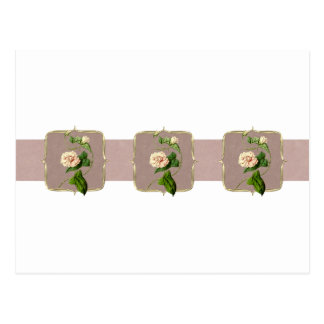 広の淡いピンクのヴィンテージの花 ポストカード