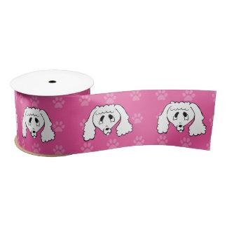 広の避難所犬の漫画のプードルのピンクのpawprints サテンリボン