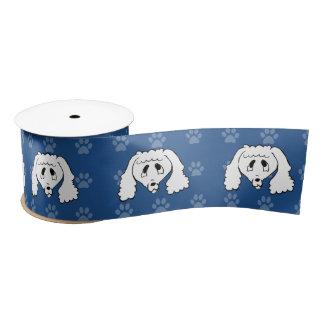 広の避難所犬の漫画のプードルの青いpawprints サテンリボン