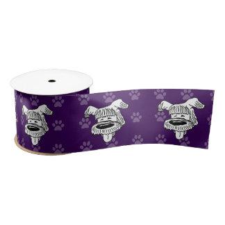 広の避難所犬の漫画の牧羊犬の紫色のpawprints サテンリボン