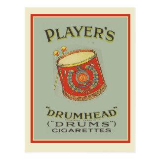 広告するヴィンテージプレーヤーのDrumheadのタバコ ポストカード