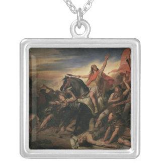 広告496 1837年のTolbiacの戦い シルバープレートネックレス