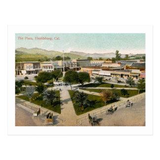 広場の通り場面、Healdsburgのカリフォルニアヴィンテージ ポストカード